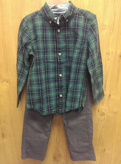 Carter's 2pc green buttondown/chinos outfit - 4T
