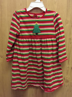 J Khaki striped Chrismas dress - 3T