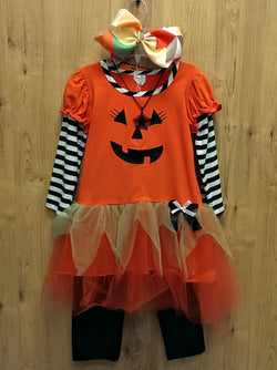 "New 4pc Halloween outfit w/ 8"" bow & necklace - 5"