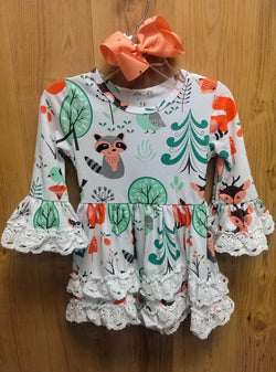 New lace trim woodland creature dress w/bow - 6/12mos