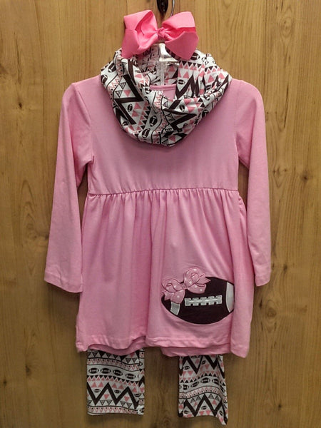New 4pc pink/brown football outfit w/ accessories - 7/8