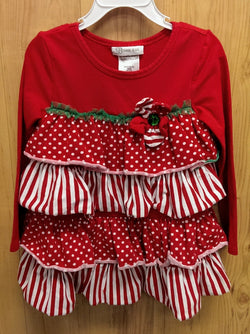 Bonnie Jean red/white/green tiered top - 4T
