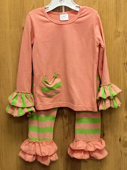 2pc peach/lime ruffle outfit - 3T