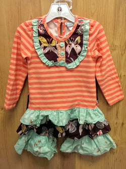 Peaches n Cream 2pc peach/plum/mint ruffle outfit - 3T