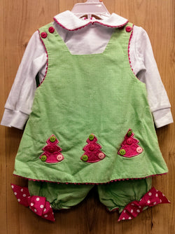 Peaches 'n Cream 2pc green/pink Christmas tree outfit - 12mos
