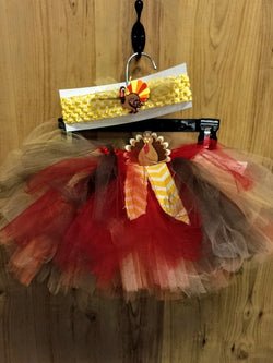 NEW handmade Thanksgiving turkey tutu w/ headband - one size