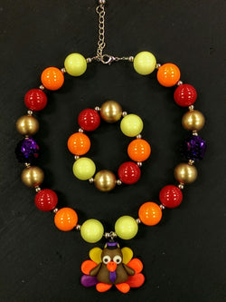 New chunky bead bubble gum necklace w/ bracelet - Thanksgiving turkey