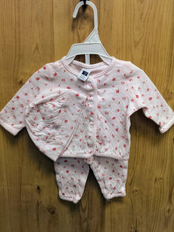 Janie and Jack 3pc pink outfit w/ hat - 0/3mos