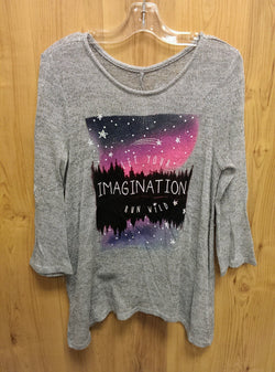 Justice gray imagination light sweater/top - 12