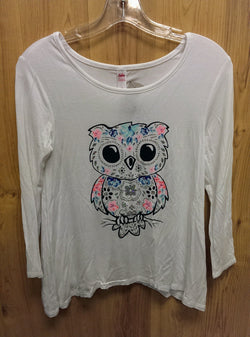 Justice white owl tee - 10