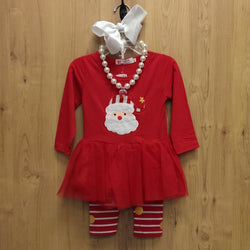 New 4pc Santa Claus outfit w/ accessories - 18/24mos