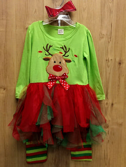 New 3pc Rudolph outfit w/ bow - 4T