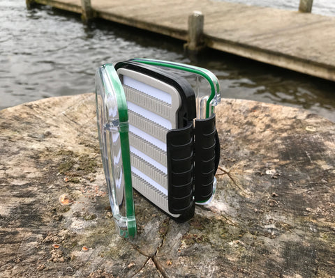 Large pocket size woodland green double sided waterproof fly box