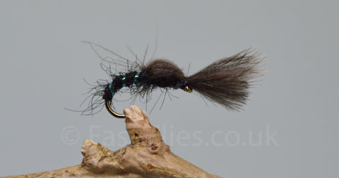 CDC Black Shuttle Cock Buzzers x 3 - Fast Flies top trout flies