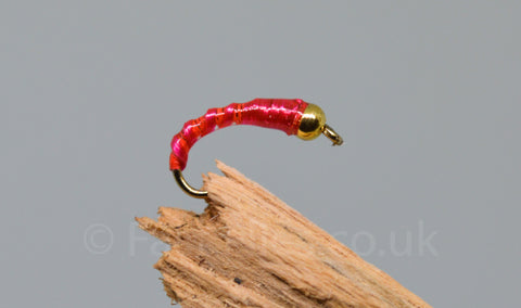 Gold Head Red Flexi Floss Buzzer x 3 - Fast Flies top trout flies