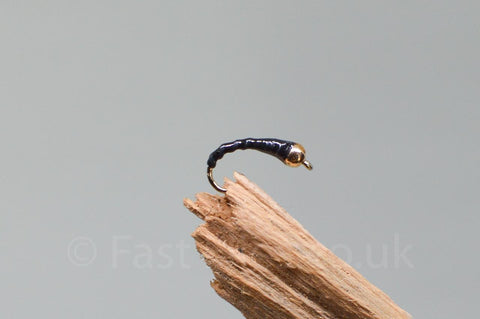 Gold Head Black Flexi Floss Buzzer x 3 - Fast Flies top trout flies