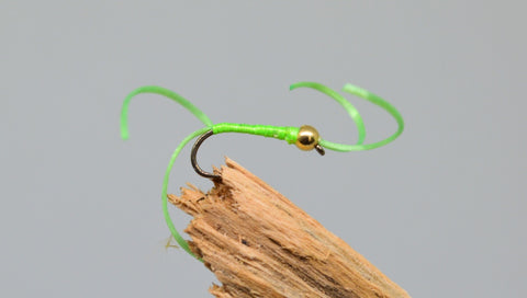 Gold Head Lime Flexi Floss Bloodworm x 3 - Fast Flies top trout flies
