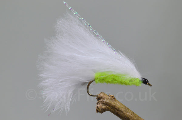 BCLS15 3 x GREEN FRITZ AND WHITE CATS WHISKER SIZE 12 TROUT FLIES