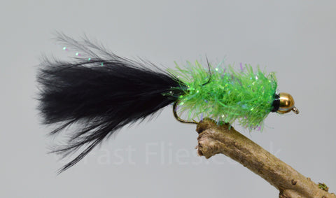 Gold Head Black & Green Fritz Woolly Bugger x 3