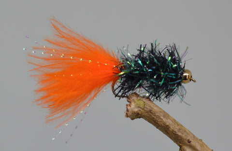 Gold Head Orange & Black Fritz Woolly Bugger x 3 - Fast Flies top trout flies