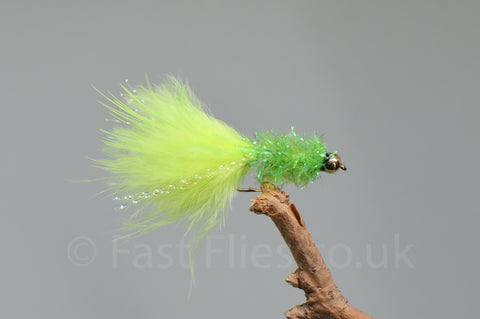 Gold Head Lime Fritz Woolly Bugger x 3