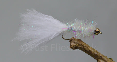 Gold Head White Fritz Woolly Bugger x 3 - Fast Flies top trout flies