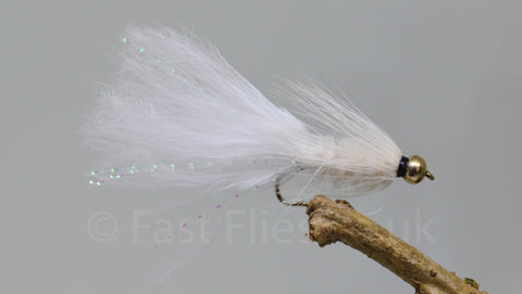 Gold Head White Woolly Bugger x 3 - Fast Flies top trout flies