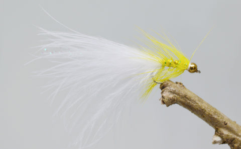 Gold Head Mini Yellow Dancer White Tail (Barbless) - Fast Flies top trout flies