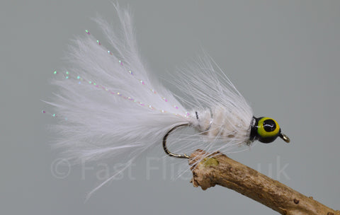 Lead Head White Dog Nobbler x 3 - Fast Flies top trout flies