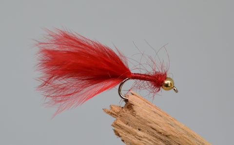 Gold Head Red Bloodworm (Barbless) - Fast Flies top trout flies