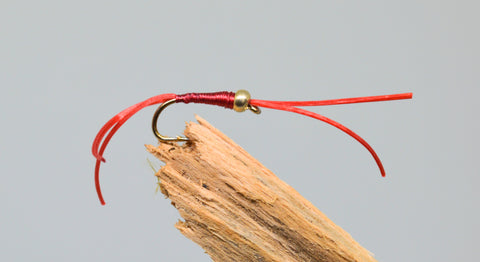 Gold Head Red Flexi Floss Bloodworm (Barbless) x 3