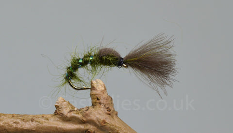 CDC Olive Shuttle Cock Buzzers x 3 - Fast Flies top trout flies