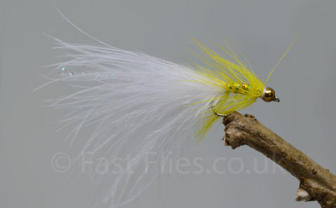 Gold Head Mini Yellow Dancer White Tail x 3 - Fast Flies top trout flies