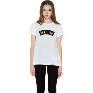 White Short Sleeve Anti-You Printed Graphic Tee