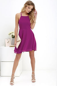 Cross Lace Up Backless Spaghetti Strap A-Line Mini Dress
