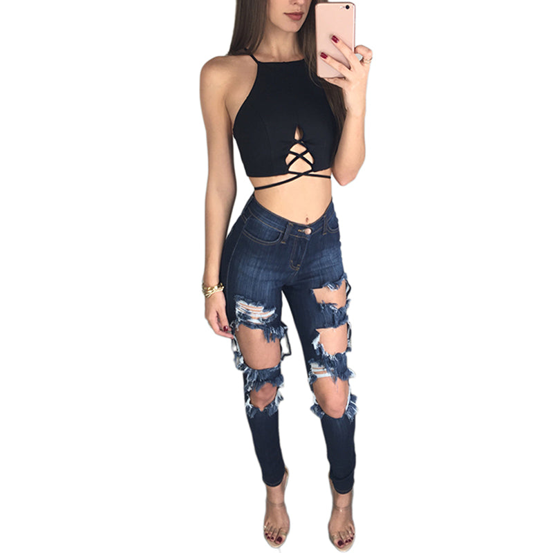 Lace Up Backless Camisole Crop Top