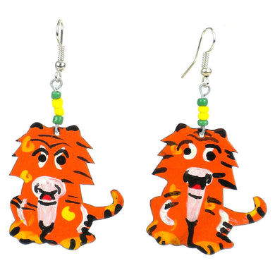 Recycled Standing Tiger Earrings Handmade and Fair Trade
