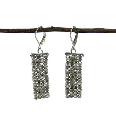Rectangle Cubist Earrings - silver Handmade and Fair Trade