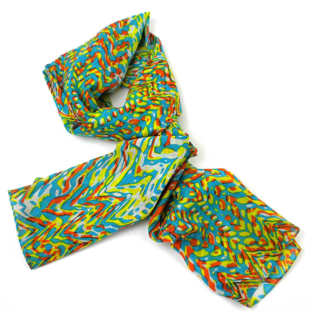 Bright Abstract Cotton Scarf - Asha Handicrafts