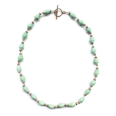 Single Strand Magazine Bead Necklace Seafoam - Imani Workshop (J)
