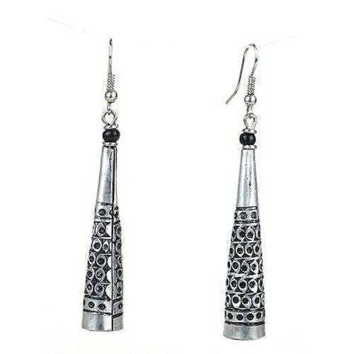 Stamped Recycled Cooking Pot 'Cone' Earrings Handmade and Fair Trade