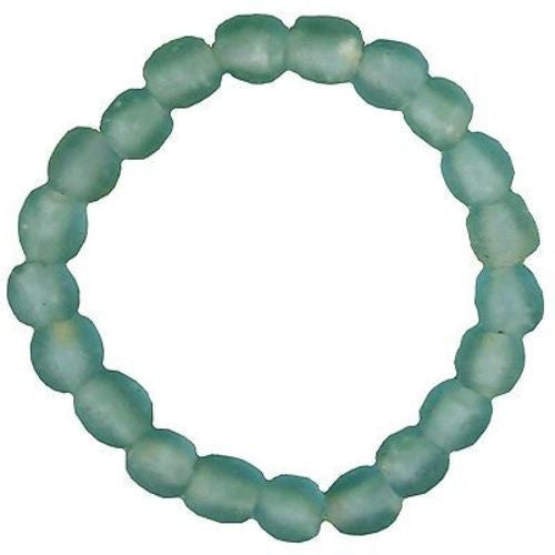 Recycled Sky Blue Pearl Glass Bracelet Handmade and Fair Trade