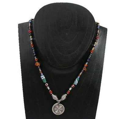 Single Spiral Multicolor Beaded 'Hope' Necklace Handmade and Fair Trade