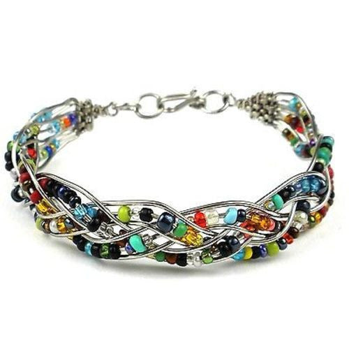 Woven Silverplated Wire and Colorful Bead Bracelet Handmade and Fair Trade