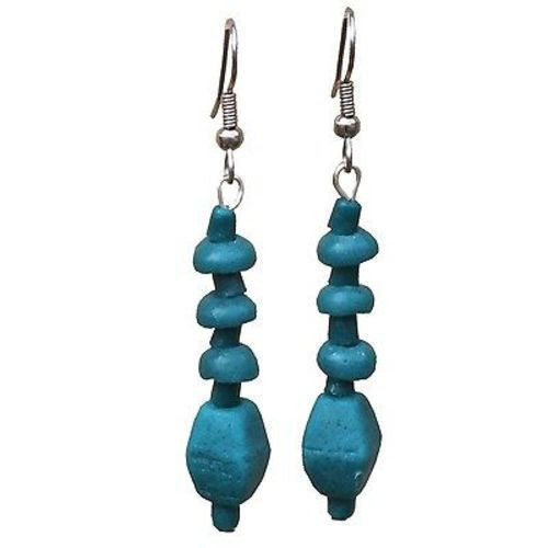 Teal Glass Pebbles Earrings Handmade and Fair Trade