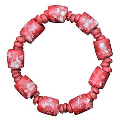 Recycled Glass Marble Bracelet in Poppy Handmade and Fair Trade