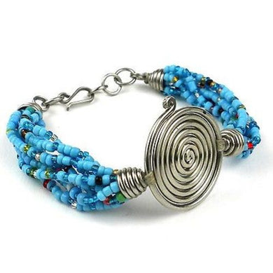 Single Spiral 'Progress' Blue Beaded Bracelet Handmade and Fair Trade