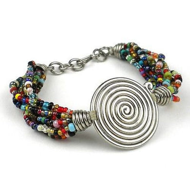 Single Spiral 'Progress' Multicolor Beaded Bracelet Handmade and Fair Trade