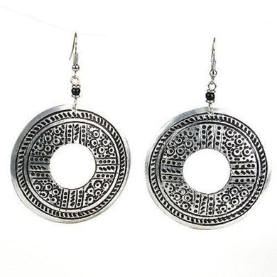 Stamped Recycled Cooking Pot 'Open Medallion' Earrings Handmade and Fair Trade