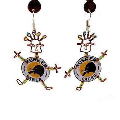 Recycled Tusker Bottle Cap Dancing Girl Earrings Handmade and Fair Trade